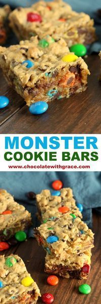 Monster Cookie Bars - Classic Cookies in easy bar recipe form. #monstercookies #easydessert #cookiebars #easydessertrecipes #comfortfood