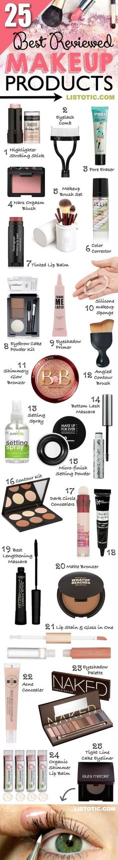 The 25 best reviewed makeup products for beginners and professionals! Most of these are low cost and can be found at most drugstores or even Amazon! | Listotic.com 2017