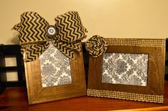 Set of Bronze Wooden Accented 5x7 Picture Frames Embellished with Corresponding Black & Beige Chevron Burlap Flower and Rosette  on Etsy, $55.00