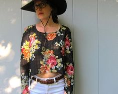 Vintage Tops, Floral Tops, Unique, Etsy, Shopping, Women, Fashion, Moda, Top Flowers