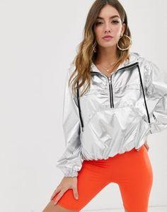 NA-KD metallic half zip pullover jacket