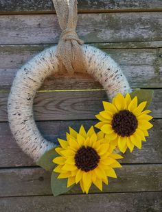 Summer Sunflower 14 inch Yarn Wreath With Burlap by JD2plus2 More