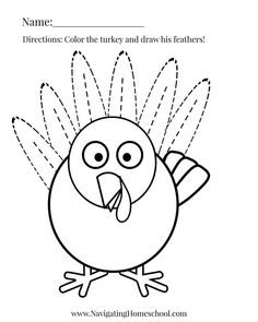 Count and Trace Turkey - Thanksgiving Activity