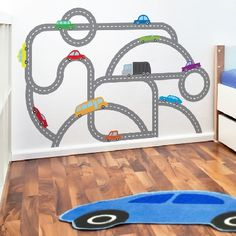 Something like this with magnetic paint and car shaped magnets would be neat. Something like this wi Baby Boy Room Decor, Baby Boy Rooms, Big Boy Bedrooms, Navy Bedrooms, Race Car Room, Magnetic Paint, Wall Decal Sticker, Car Decal, Kids Play Spaces