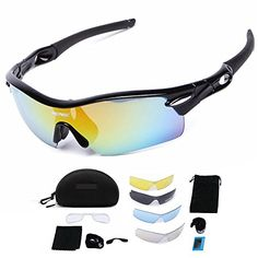 Lecxci Polarized Sports Cycling Sunglasses for Driving Mountain Climbing with Interchangeable Lenses Men Women Style Package Waterproof Box Black ** Learn more by visiting the image link. Cycling Sunglasses, Oakley Sunglasses, Bicycle Pedals, Mountain Climbing, Lenses, Image Link, Note, Amazon, Womens Fashion