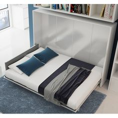 Found it at Wayfair - Multimo Full/Double Upholstered Murphy Bed Best Murphy Bed, Murphy Bed Ikea, Murphy Bed Plans, Camas Murphy, One Room Flat, Fold Up Beds, Horizontal Murphy Bed, Small Spaces, Ideas