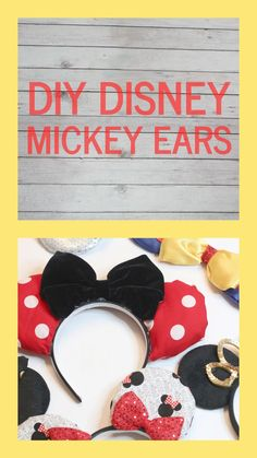 disney crafts These DIY Mickey Ears are no-sew and super easy to make! They are perfect for your upcoming Disney vacations! You guys, we are just a few days away from leaving for Disney Diy Disney Ears, Mickey Mouse Ears Headband, Disney Mickey Ears, Cute Disney, Mini Mouse Ears Diy, Mickey Ears Diy, Disney Babies, Minnie Mouse, Noel Christmas
