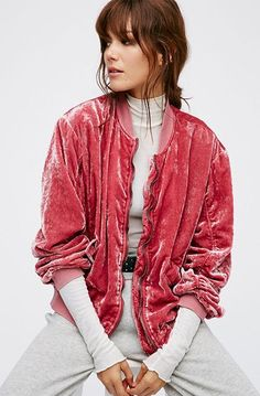 Free People Ruched Velvet Bomber, $148, available at Free People. #refinery29 http://www.refinery29.com/bomber-jacket-women#slide-12