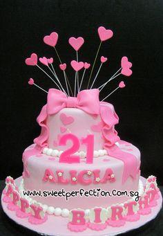 Code 21st 31 Alicia Birthday Ribbon Theme Cake