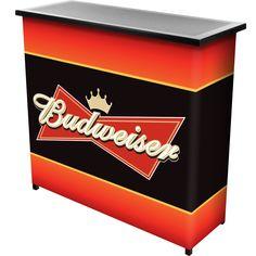 Trademark Gameroom Budweiser 2 Shelf Portable Bar Table w/ Carrying Case