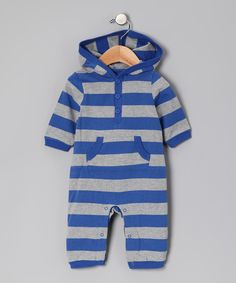 Look at this Royal Blue & Gray Stripe Hooded Playsuit - Infant on #zulily today!