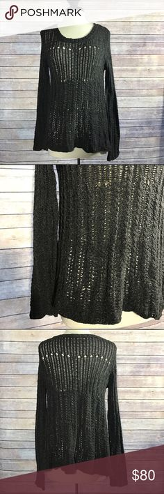 {Theory} Charcoal Open Cable Knit Sweater Pullover; Crew neck; Long Sleeves; Open Knit; Condition: Excellent- lightly worn. Theory Sweaters