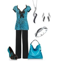 Turquoise & Black. Everything, but the shirt is fabulous!