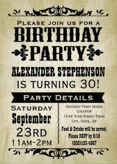 Custom Rustic Vintage Mens Birthday Invitations Easy To Customize Bachelor Party