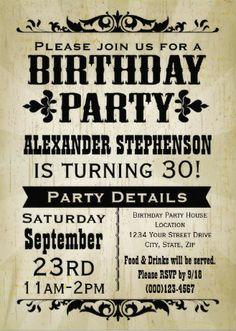 Custom rustic vintage Men's Birthday Invitations. Easy to customize! #mens_birthday_invitations