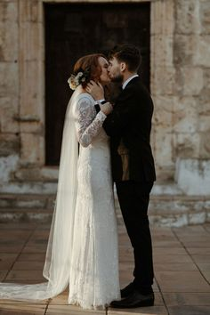 Beautiful bride and groom portrait at sunset outside the church in Olivella, Spain. Olivia & Dan Photography - Spanish Wedding