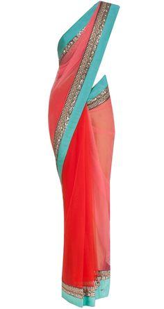 Pumpkin red georgette and net sari by SABYASACHI. Shop at https://www.perniaspopupshop.com/designers-1/sabyasachi/sabyasachi-16