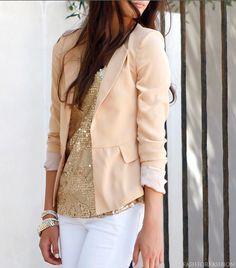 blush blazer and gold always goes good