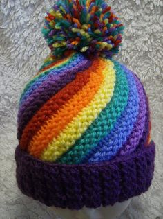 Rainbow Swirl Hat Adult/Child - Easy Chunky Knit K Baby Boy Knitting Patterns, Baby Cardigan Knitting Pattern, Knitting Wool, Double Knitting, Baby Knitting, Baby Patterns, Knit Headband Pattern, Knitted Headband, Knitted Hats