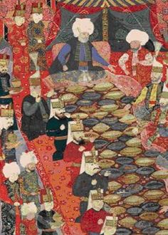 Ottoman painting of a Banquet given by the commander in chief Lala Mustafa Pasha to the janissaries in Izmit, 5 April 1578