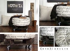french industrial ottoman, painted furniture, pallet, reupholster