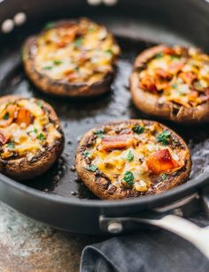 Giant easy, low carb portobello mushrooms stuffed with cheddar cheese, onions, and crispy bacon