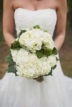 Bouquet With White Hydrangeas and Greenery | Brides.com