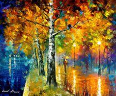 Glowing Birch — PALETTE KNIFE Oil Painting On Canvas By Leonid Afremov #afremov #art #painting #fineart #gifts #popular #leonidafremov
