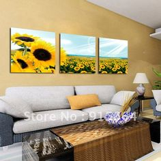 3Panels Huge Modern Painting Combination Living Room Paint Decorative Picture Superb Canvas Print Wall Hanging Art Sunflower 26-in Painting & Calligraphy from Home & Garden on Aliexpress.com