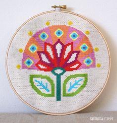 Bloom - Retro Scandi Flower Cross stitch or needlepoint pattern PDF. $5.00, via Etsy.