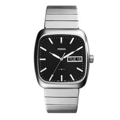 Rutherford Three-Hand Day-Date Black Leather Watch - Fossil Malaysia Fossil Leather Watch, Black Leather Watch, Mens Watches Leather, Leather Men, Fossil Watches For Men, Rolex Watches For Men, Vintage Watches For Men, Men's Watches, Rolex Submariner