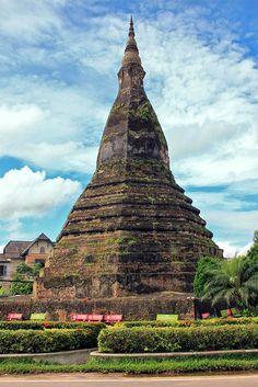 Laos: That Dam (Black Stupa) in Vientiane