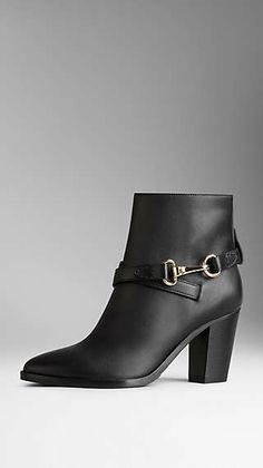 Polished Metal Buckle Ankle Boots