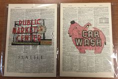 Vintage Dictionary Art - 2 Seattle Pieces