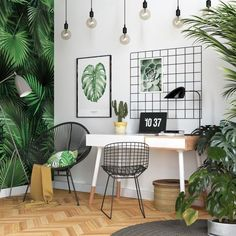 This Scandinavian style home office has gone all out botanical with leafy print wallpaper, artwork and accent cushion. This Scandinavian style home office has gone all out botanical with leafy print wallpaper, artwork and accent cushion. Modern Home Offices, Modern Office Decor, Office Interior Design, Home Office Decor, Office Interiors, Office Ideas, Office Designs, Modern Interior, Office Setup