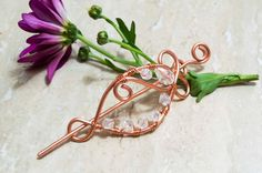 Copper/silver  wire hair slide Hair Barrette by MusawwarCreation