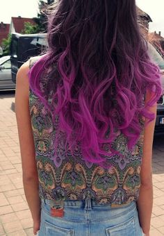 Brown Hair with Orchid Colored Ends