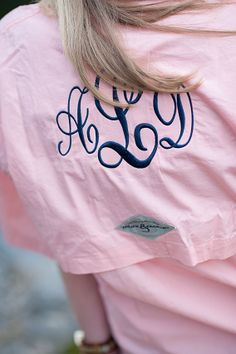 PFG w/ Large Monogram on Back. This would make a cute button up for bridesmaids on the wedding day to be later turned into a bathing suit cover up!