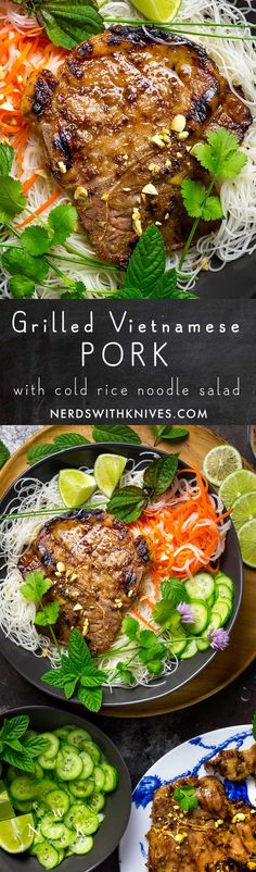 Marinated and grilled until charred and juicy, serve our Vietnamese-style pork chops with rice noodles, herbs and pickled vegetables.