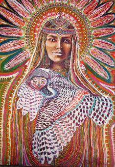white owl native american star galaxy owl by Isabel Bryna of MariposaGalactica