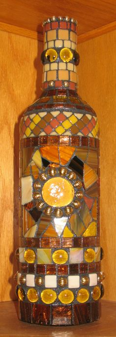 MOSAIC WINE BOTTLE...Elegant Earth Tones Browns AmberRust