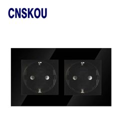 Wall socket kitchen plug sockets Black Crystal Glass Electrical Double 16A European Wall power  Socket Outlet,CSNKOU new product