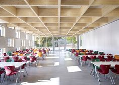 Salmtal Secondary School Canteen by SpreierTrenner Architekten - great example of how to use primary colors without overwhelming the space