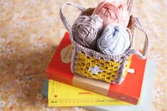 Yellow-granny-square-crochet-basket