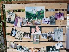 deco wedding champetre, wooden pallet, decorated with family photos, corner memories photos hanging on a thread by small clothes pegs by julietteanais Coin Photo, Photo Deco, Clothes Pegs, Hanging Photos, Photo Memories, Wooden Pallets, Country Decor, Decoration, Photo Wall