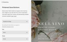 Learn how to edit and amend your Pinterest Save buttons on your Squarespace website and blog. Visit my blog and read the whole blog post: www.nellaino.com/blog #squarespacetips #pinterestadvice #savebuttons #pinterestbuttons #bloggingtips Social Media Marketing Business, Social Share Buttons, Simple Website, Text On Photo, Instagram Blog, Pinterest For Business, Seo Tips, Pinterest Marketing, About Me Blog