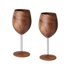 Dine in eco-chic style with wooden wine glasses.