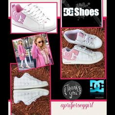 {DC-Shoes}- Court Graffik SE Skate Shoes Pink on white Court Graffik SE Skate Sneakers like NEW worn 2 time woman's size 8 DC on back ends with light gray shadow plaid and light pink stripes TY HAPPY POSHING DC Shoes Sneakers