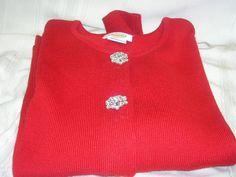 Ladies Talbots Red Sweater Rhinstone Buttons Size XL #Talbots #ButtonDown #Dress