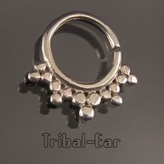 septum nose ring piercing plain silver argent ethnic jewelry Tribal Ear 022